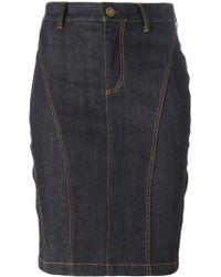 Burberry Brit Fitted Knee-Length Denim Skirt - Lyst
