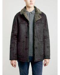 Topman Faux Shearling Jacket - Lyst