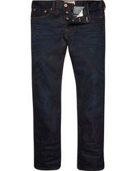 River Island Dark Wash Coated Dean Straight Jeans - Lyst
