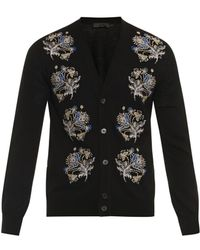 Alexander McQueen Floral-embroidered Wool-blend Cardigan - Lyst