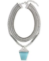 Vince Camuto - Silvertone Blue Stone Layered Drama Necklace - Lyst