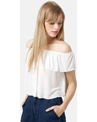 Topshop Off The Shoulder Top beige - Lyst