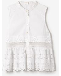 Suno Embroidered Eyelet Babydoll Top - Lyst