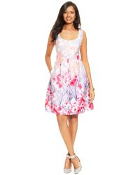 Nine West Floral-Print Pleated Dress - Lyst
