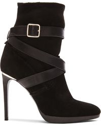 Burberry Prorsum | Cadey Strap Suede & Sheep Shearling Booties | Lyst
