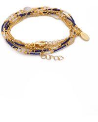Sogoli | Stone Beaded Wrap Bracelet - Moonstone/lapis | Lyst