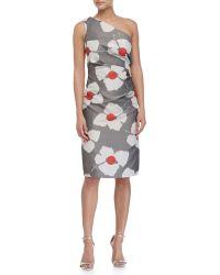 Carolina Herrera One-Shoulder Floral-Print Dress floral - Lyst