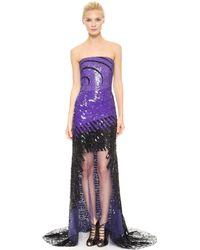 Monique Lhuillier Strapless Illusion Gown Purpleblack - Lyst