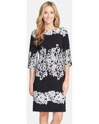 Adrianna Papell Placed Print Sheath Dress - Lyst