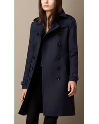Burberry Wool Cotton Twill Trench Coat - Lyst