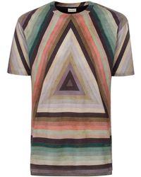 Paul Smith Men'S 'Triangle Stripe' Print Cotton T-Shirt multicolor - Lyst