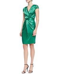 St. John Liquid Satin Faux-wrap Dress - Lyst