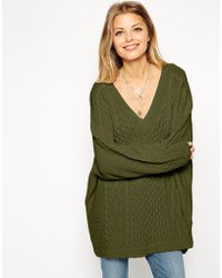 Asos Cable Sweater With Off Shoulder V-Neck - Lyst