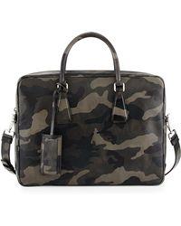 Prada Camo Saffiano Zip-Around Briefcase - Lyst