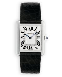 Cartier Tank Solo Large Stainless Steel & Alligator Strap Watch - Lyst