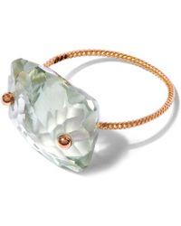 Laurent Gandini - Rose Gold Light Green Scalloped Prasiolite Ring - Lyst