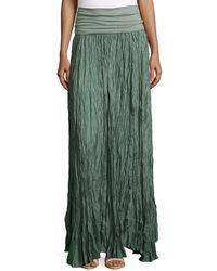 Donna Karan New York Crushed Silk Maxi Skirt With Fold-Over Waist - Lyst