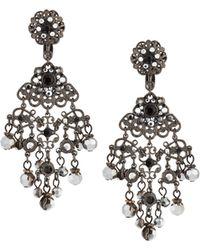 Jose & Maria Barrera | Gunmetal Crystal Chandelier Clip Earrings | Lyst