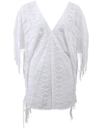 Miguelina Taylor Fringe Caftan white - Lyst