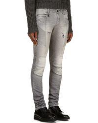 Pierre Balmain Grey Distressed Jeans - Lyst