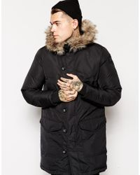 Diesel Kirton Parka Coat With Faux Fur Hood black - Lyst