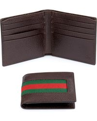 Gucci | Leather Web Bifold Wallet | Lyst