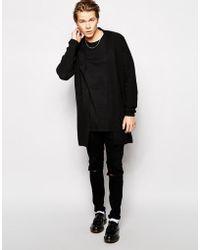 Asos Longline Oversized Cardigan in Black for Men   Lyst