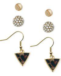 Guess Gold-Tone Stud Fireball Triangle Print Earring Set - Lyst