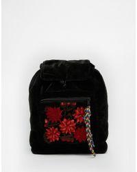 Hiptipico - Foo Foo Velvet Backpack With Floral Pocket - Black - Lyst