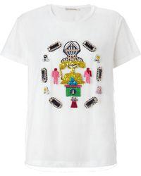 Mary Katrantzou Jersey Tshirt Embroidered White - Lyst