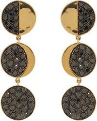 Pamela Love Black Diamond  Gold Moon Phase Earrings - Lyst