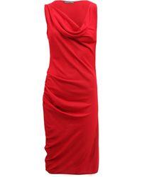 Alexander McQueen Cowl Neck Asymmetric Dress - Lyst