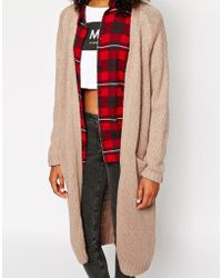 Monki Longline Pocket Cardigan in Natural | Lyst