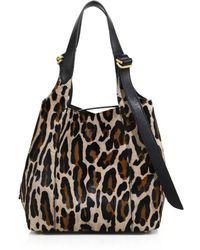 Nina Ricci Faust Small Leopard-Print Calf Hair Shoulder Bag animal - Lyst