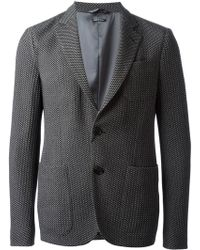 Giorgio Armani Black Patterned Blazer - Lyst
