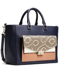 Tory Burch T-Lock Color-Block Tote - Lyst