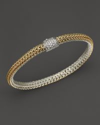 John Hardy Classic Chain 18k Gold and Sterling Silver Extra Small Reversible Bracelet with Pavé Diamonds - Lyst
