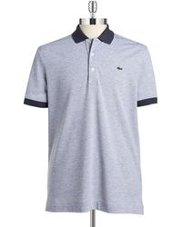 Lacoste Two-Tone Cotton Polo silver - Lyst