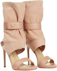 Paul Andrew Leather And Suede Open-Toe Boots - Lyst