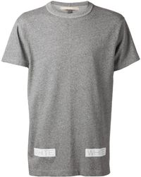 Off-White Gray Striped T-Shirt - Lyst
