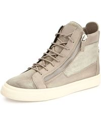 Giuseppe Zanotti Suede Zip High-Top Sneakers - Lyst