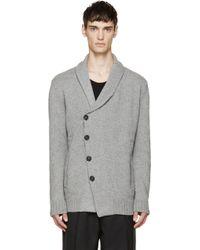 Alexander McQueen Grey Knit Shawl Cardigan gray - Lyst