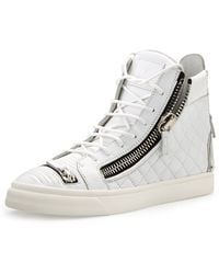 Giuseppe Zanotti Quilted High-top Sneaker Wzippers - Lyst