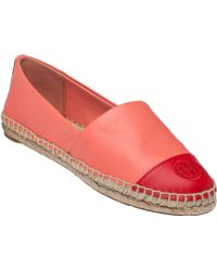 Tory Burch | Embroidered Leather Espadrilles  | Lyst