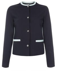 Paul Smith Navy Collarless Tailored Jacket With Mint Trims - Lyst