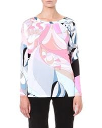 Emilio Pucci Printed Jersey Top Pink - Lyst