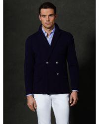 Ralph Lauren Purple Label Blue Cashmere Cardigan - Lyst