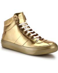 Jimmy Choo Belgrave Metallic High-Top Sneakers - Lyst