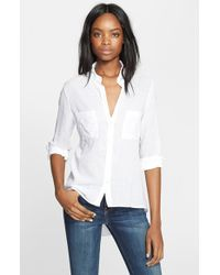 Enza Costa High/Low Voile Shirt - Lyst