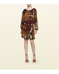 Gucci Embroidered Fantasy Print Silk Georgette Gown - Lyst
